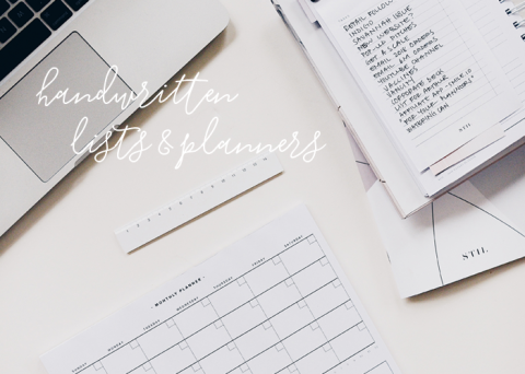 handwritten lists and planners on desk